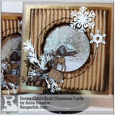 Snowy Cabin Kraft Christmas Cards by Anita Houston | www.rangerink.com; Dec 2017 #timholtz #rangerink #sizzix #stampersanonymous #distressoxides #christmascard #tistheseason #anitahousotn #theartfulmavenhaven