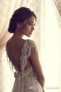 Backless Wedding Dresses Simple Beach V Neck Cap Sleeves Open Back Long Length Beading Crystal Lace Bow Tulle Wedding Dress Custom Made