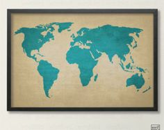 Save 10% Rustic World Map, Vintage Map of the World, Canvas Texture World Map, Travel Decor, Travel Poster, Beige Home Decor, Blue Decor