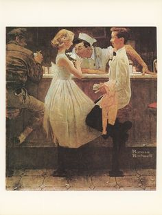 Norman Rockwell, After The Prom, Teenagers Boy And Girl At Soda Shop, Post Magazine Cover~~