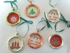 Mini Cross Stitched Christmas Ornaments / Set by luvinstitchin4u, $11.00