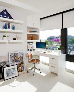 stylish home office with desk