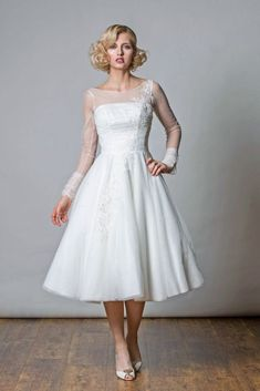 Rita Mae 2017 Short Wedding Dresses - World of Bridal Short Wedding Gowns, Pretty Wedding Dresses, Wedding Dress Organza, White Wedding Gowns, Beautiful Wedding Gowns, Tea Length Wedding Dress, Long Sleeve Wedding, Perfect Wedding Dress, Pretty Dresses