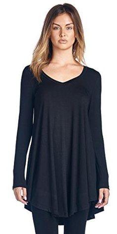 d9e9284ab2969 Popana Women s Tunic Tops For Leggings - Long Sleeve Vneck Shirt - Regular  and Plus Size - Made in USA Popana Women s Tunic Tops For Leggings - Long  Sleeve ...