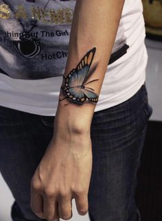 3D realistic butterfly tattoo on wrist