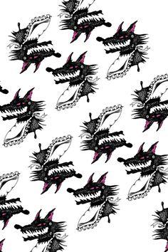 腹ぺこオオカミ Pattern Images, Textiles, Fabrics, Textile Art