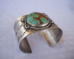 Vintage NAVAJO Hand Stamped Sterling Silver & Pilot Mountain TURQUOISE Cuff BRACELET, Wide Band