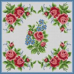 Corner Roses Pillow Susan Treglown mesh: dimension: 12 x Cross Stitch Tree, Cross Stitch Pillow, Cross Stitch Borders, Cross Stitch Flowers, Cross Stitch Kits, Cross Stitch Charts, Cross Stitch Designs, Cross Stitching, Cross Stitch Embroidery