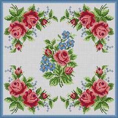 Corner Roses Pillow Susan Treglown mesh: 13:1 dimension: 12 x 12