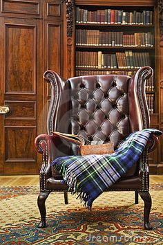 Photo about Traditional Chesterfield armchair with tartan blanket in classical library room. Image of english, chair, bookshelf - 23208894 Comfy Armchair, Wingback Chair, Chesterfield Sofas, Chesterfield Library, Leather Chesterfield, Leather Sofas, Leather Furniture, Home Furniture, 1930s Furniture