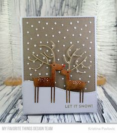 Stamps: Snow Globe Sentiments Die-namics: Deer Love, Stitched Basic Edges 2, A2 Stitched Rectangle STAX, Snowfall - Vertical Kristina Pavlovic #mftstamps