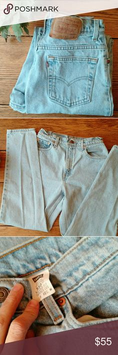 "Vintage Levi's mom jeans Perfect light wash 550, the ultimate mom jean.  Gorgeous thick %100 cotton in fantastic condition.  No rips or tears.  Measurements waist 14"", hips 20"",  rise 12"",  inseam 30"". Would fit 26 or 27 best.  Check your measurements! Levi's Jeans"