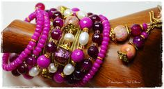 "Purple & Bright Pink Jewelry set ""Fuchsia"" by Charisma Art Store, wide memory - bracelet and earrings, agate, freshwater pearls.. by Charisma Art Store on Etsy"