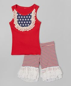 Look at this #zulilyfind! Red & Navy Tank & Ruffle Shorts - Infant, Toddler & Girls by Ruby and Rosie #zulilyfinds