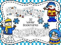 32 winter bookmarks $ on TpT