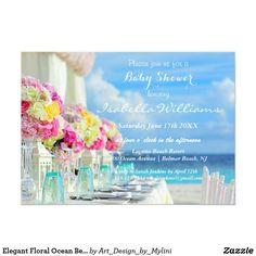 Elegant Floral Ocean Beach Summer Baby Shower