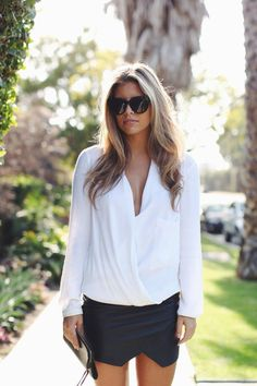 White shirt and black skirt outfit inspiration