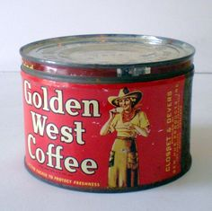 1940s Golden West Coffee Tin Cowgirl Graphics from californiagirls on Ruby Lane