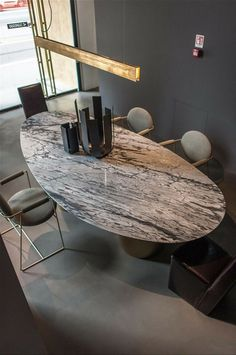 10 Ways A Marble Dining Room Table Can Transform Any Décor Dining Table Design, Modern Dining Table, Oval Table, Dining Room Furniture, Dining Room Table, Dining Chairs, Luxury Furniture, Furniture Design, Quality Furniture