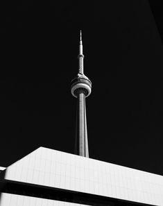 Night Aesthetic, Cn Tower, Night Time, Toronto, Canada, Entertaining, Black And White, Dark, Black N White