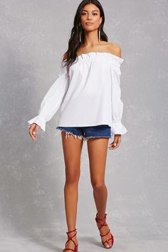 A woven top featuring an elasticized off-the-shoulder neckline, ruffle trim, and long sleeves with a crochet design.<p>- This is an independent brand and not a Forever 21 branded item.</p>
