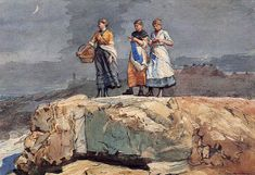 Where are the Boats? (aka On the Cliffs): 1883, Winslow Homer