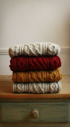 Winter/Autumn Inspiration · via Custom Scene · pile of chunky knit sweaters