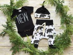 Newborn Baby Boy Clothing Set/ Baby Bear Take Home Outfit/ Preemie Bodysuit Baby Shower Gift/ Handmade Black and White Baby Clothing Set - Baby Clothes Newborn Baby Bear Outfit, Baby Outfits Newborn, Baby Boy Newborn, Baby Boy Outfits, Coming Home Outfit Boy, Take Home Outfit, Baby Boy Clothing Sets, Bear Clothing, Homecoming Outfits