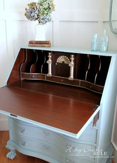 Secretary Desk Makeover (Chalk Paint® by Annie Sloan) - AFTER Inside 1 - #MadeItMyOwn #sp #chalkpaint artsychicksrule.com