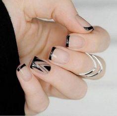 2017,nail design, art, manicure, ногти, маникюр, дизайн ногтей, черный френч