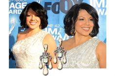 Actress Sara Ramirez wearing BRUMANI earrings from Renaissance Collection in white gold with white diamonds, green amethyst, champagne citrine and pink tourmaline, to the 42nd NAACP Image Awards held at The Shrine Auditorium on March 4, 2011 in Los Angeles, California.