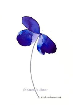 Blue Violet Beauty watercolor flower giclee by karenfaulknerart