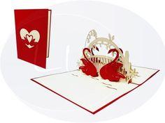 Unsere Hochzeitskarte mit Schwänen. Mehr entdecken auf: www.lin-popupkarten.de