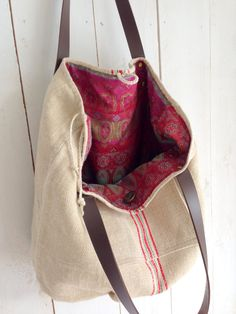 Large reversible antique linen grain sack tote bag / shoulder bag with leather straps