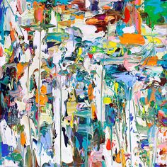 Adam Cohen - Subtropical (Abstract Expressionist Painting on Canvas in Teal, Green, Orange) Colorful Abstract Art, Contemporary Abstract Art, Abstract Canvas, Painting Abstract, Inspiration Art, Oeuvre D'art, Abstract Expressionism, Adam Cohen, Art Projects