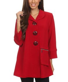 Look at this Red Pocket Button-Up Jacket - Plus Too on #zulily today!