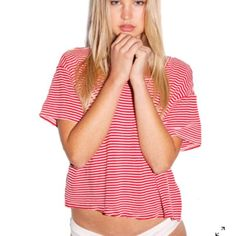 Stripe Mid-Length Pocket Tee Gently worn, no more than 3 times worn. Very cute top and great with jean shorts. Contact me if you have any questions  American Apparel Tops