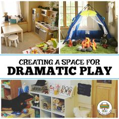 Photos of Dramatic Play Spaces for Childcare Providers. Find suggested items to add to your Daycare Pretend Play Area. Role Play Areas, Indoor Play Areas, Dramatic Play Area, Dramatic Play Centers, Play Spaces, Learning Spaces, Learning Environments, Daycare Spaces, In Home Daycare