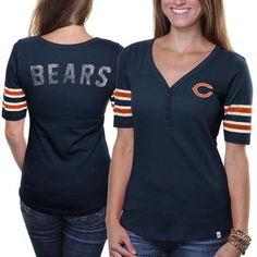 Women's Chicago Bears Navy Blue Back Track Scoop T-Shirt