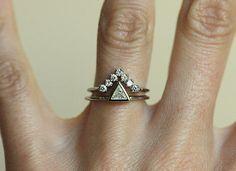 White gold wedding set Trillion diamond set wedding by MinimalVS