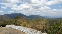 The view as you walk up the steps to the cave temple itself.