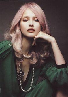 Lavender-tinted pink-blonde hair