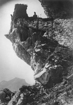 Austro-Hungarian soldiers on the top of a mountain in Italy , WW1