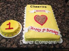 Cheerios birthday cake with smash cake by Sweet Company #sweetcompanycakes