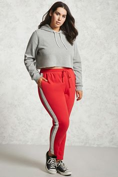 Forever 21+ - A pair of French terry knit sweatpants featuring contrast side stripes, an elasticized drawstring waistband, and on-seam pockets.