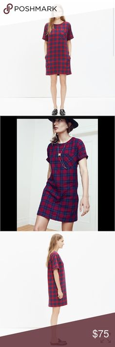 "NEW Madewell plaid dress mini Alexa Chung tea shir sold out on Madewell   5 sold / LAST ONE   PRODUCT DETAILS   Sz XXS  A tee-style mini dress in a special double-faced cotton that's plaid on the outside and gingham check inside (aka made for sleeve-rolling). A pop-on shape plus pockets? Yeah, this is a good one.   Shift dress silhouette.  Falls 36"" from shoulder.  Cotton.  Machine wash.  Import.  Item E0840. Madewell Dresses Mini"