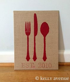 Fork, Knife, Spoon Painting, Personalize with date your home/kitchen was established. #kitchenart #housewarming https://www.etsy.com/listing/201495945/kitchen-sign-personalized-knife-fork?ref=shop_home_feat_3