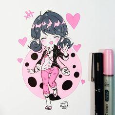 Marinette 🐞🐞🐞🐞 Are you a Lady bug fan? Quise hacer un chibi fanart de ella, mas que nada por que una amiga muy linda le encanta en especifico la Marinela(? Dibujos Anime Chibi, Cute Anime Chibi, Kawaii Anime, Anime Drawings Sketches, Kawaii Drawings, Cute Drawings, Miraculous Ladybug, Arte Copic, Chibi Girl