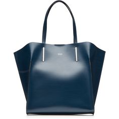 Steffen Schraut East Village Trapez Shopper ($395) ❤ liked on Polyvore featuring bags, handbags, tote bags, blue, blue tote, shopping tote, leather shopper tote bag, leather purse and leather shopper
