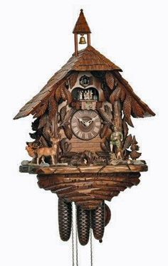 Cuckoo Kingdom - Black Forest House Cuckoo Clock, Hunting Scenery, Bell Tower.